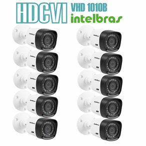 Kit-10-Cameras-com-Infravermelho-Intelbras-HDCVI-VHD-1010B-Lente-3.6-720p-Branca