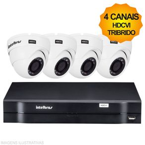 Kit-Cftv-Intelbras-HDCVI-Tribrido-Dvr-4Ch---4-Cameras-Dome-1010D