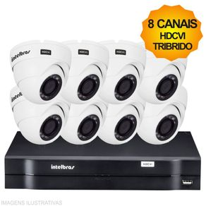 Kit-Cftv-Intelbras-HDCVI-Tribrido-Dvr-8Ch---8-Cameras-Dome-1010D