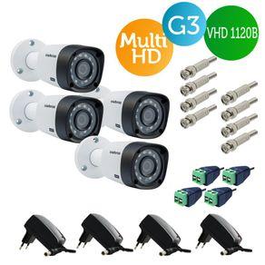 Kit-4-Cameras-bullet-Intelbras-Multi-HD-Vhd-1120b-Lente-2.8mm-G3---Fontes---Conectores