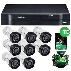 Kit-8-Cameras-de-Seguranca-Intelbras-MultiHD-1010B---DVR-8ch-Intelbras-MultiHD-Mhdx-1008---HD-1TB-Seagate