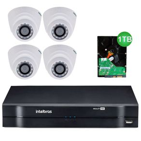 Kit-4-Cameras-de-Seguranca-dome-Intelbras-MultiHD-1010D---Dvr-4ch-Intelbras-MultiHD-mhdx-1004---HD-1TB