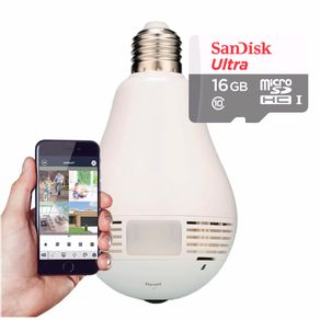 Kit-Camera-Lampada-Led-Wifi-IP-HD-Panoramica-360º-Espia-com-Cartao-de-Memoria-16GB