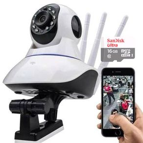 Kit-Camera-IP-1-mp-720p-HD-Wifi-Audio-P2P-3-Antenas-com-Cartao-de-Memoria-16gb