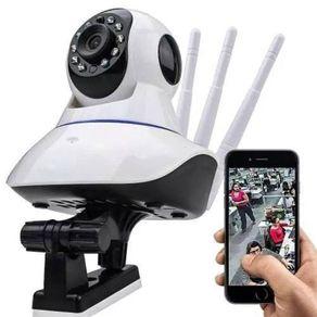 Camera-IP-sem-fio-3-antenas-720P-1MP-11LEDS-HD-WiFi-Pantilt-e-Onvif-Espia-Visao-Noturna-Alarme-audio