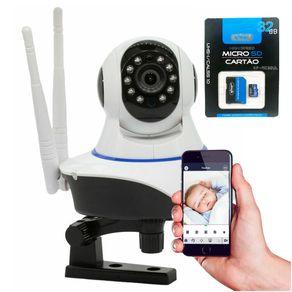 Kit-Camera-IP-sem-Fio-Baba-Eletronica-360°-Wifi-2-antenas-HD-720p---Cartao-de-Memoria-knup-KP-M032UL-32GB