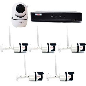 Kit-sem-Fio-05-Camera-Externa---01-Camera-Interna---DVR-04CH-5-em-1-c--Leitor-Facial