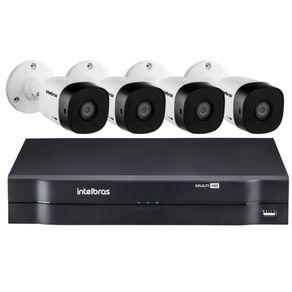 Kit-04-Cameras-Bullet-Vhd-1010B-MultiHD-720P-10-Metros---Dvr-04-Canais-Mhdx-MultiHD-1104-Intelbras