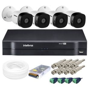 Kit-04-Cameras-Bullet-Vhd-1010B-MultiHD-720p-10-metros---Dvr-04-Canais-Mhdx-MultiHD-1104-Intelbras---Acessorios