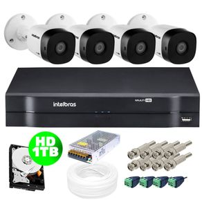 Kit-Completo-04-Cameras-Bullet-Vhd-1010B-MultiHD-720P-10-Metros---Dvr-04-Canais-Mhdx-Multi-HD-1104-Intelbras