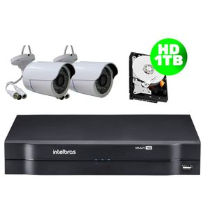 Kit-02-Cameras-AHD-30-Metros---Dvr-08-Canais-Multi-HD-Mhdx-1108-Intelbras---HD-1-TB