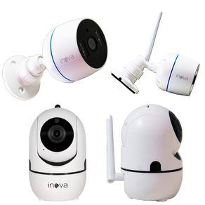 Kit-2-Cameras-IP-Wi-Fi-Sem-Fio-Interna-PTZ-Auto-Tracking---2-Cameras-Bullet-Externa-IP-Wi-Fi-Sem-Fio-FullHD-Inova