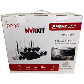 Kit-Nvr-IP-Wifi-Ipega-KP-CA150-08-Canais-com-08-Cameras-Externas-IP-HD-Wifi