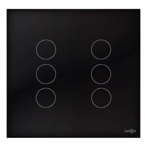 Interruptor-Lumenx-Touch-Tok-Glass-6-Pads-4x4---Preto