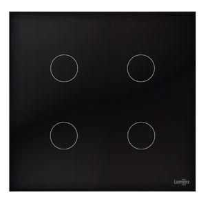 Interruptor-Lumenx-Touch-Tok-Glass-4-Pads-4x4---Preto