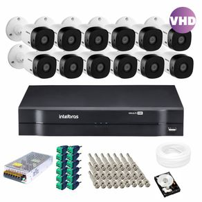 Kit-12-Cameras-Intelbras-Vhd-1120B-20m---Dvr-16-canais-Mhdx-1116---Acessorios---HD-1TB